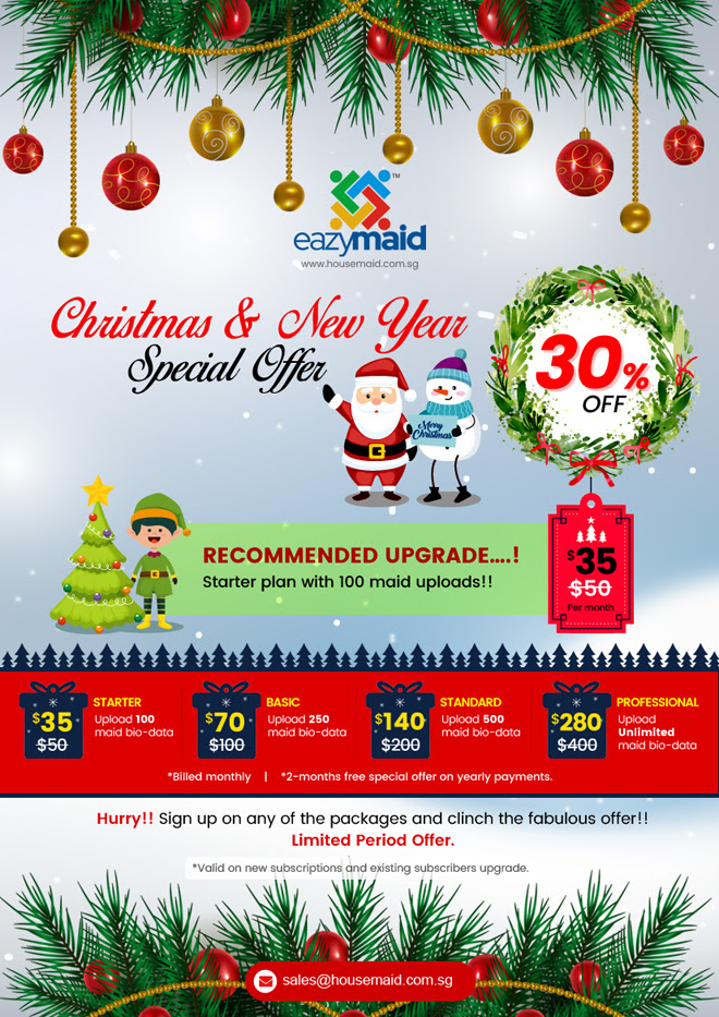 CHRISTMAS & NEW YEAR UPGRADE OFFER FOR EXISTING SUBSCRIBERS